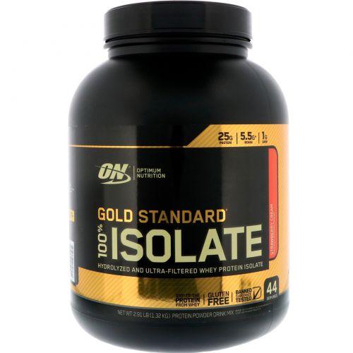 Optimum Nutrition, Gold Standard, 100% Isolate, Strawberry Cream, 2.91 lb (1.32 kg)
