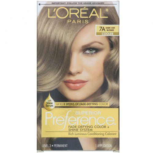 L'Oreal, Краска для волос Superior Preference с технологией против вымывания цвета и системой придания сияния, холодный, темный пепельный блонд 7A, на 1применение