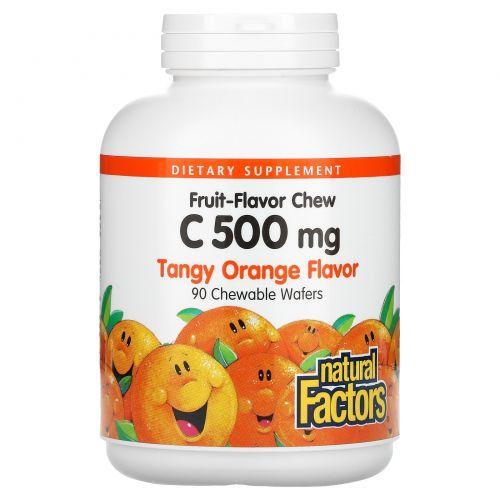 Natural Factors, Витамин C 500 мг, терпкий апельсиновый вкус, 90 жевательных пластинок