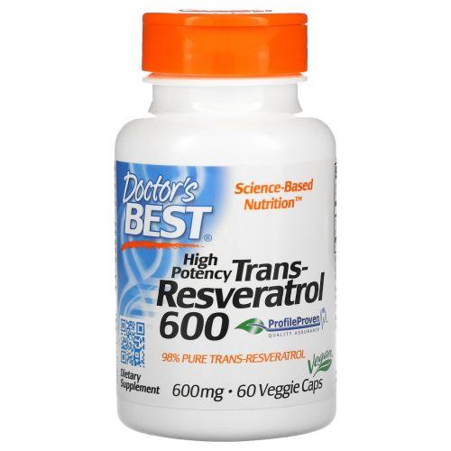 Doctor's Best, Транс-ресвератрол 600, 600 мг, 60 вегетарианских капсул