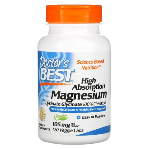 Doctor's Best, High Absorption Magnesium, 100% Chelated with Lysinate Glycinate , 105 mg , 120 Veggie Caps