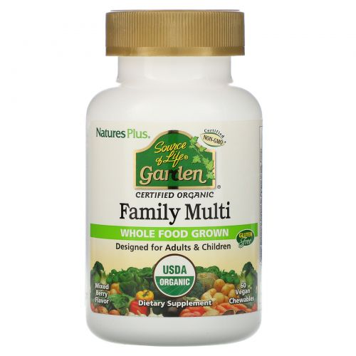 Nature's Plus, Source of Life, Organic Family Multi, Mixed Berry Flavor, 60 Veggie Chewables