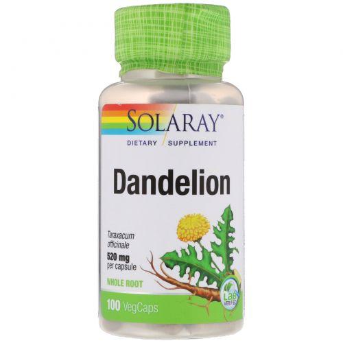 Solaray, Одуванчик, 520 мг, 100 вегетарианских капсул