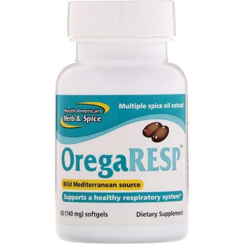 North American Herb & Spice Co., Пищевая добавка OregaResp, 140 мг, 60 мягких капсул