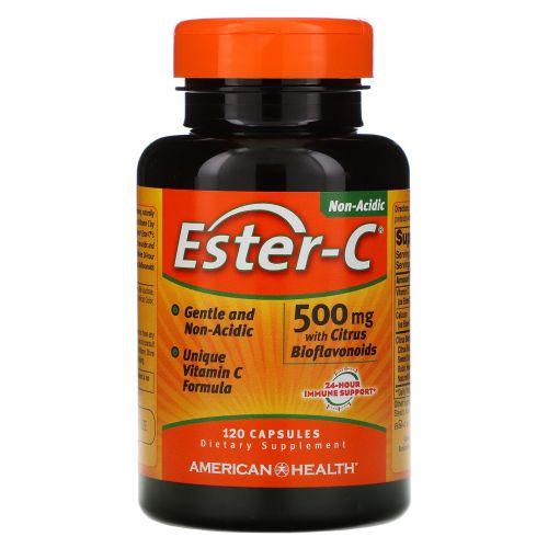 American Health, Ester-C с цитрусовым биофлавоноидом, 500 мг, 120 капсул