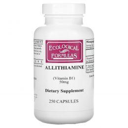 Cardiovascular Research Ltd., Ecological Formulas, аллитиамин (витамин В1), 50 мг, 250 капсул