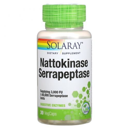 Solaray, Наттокиназа серрапептаза, 30 вегетарианских капсул