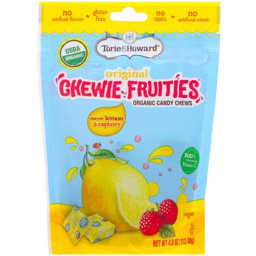 Torie & Howard, Органические жевательные фруктовые конфеты, лимон Мейера и малина, 113,4 г (4 унции)