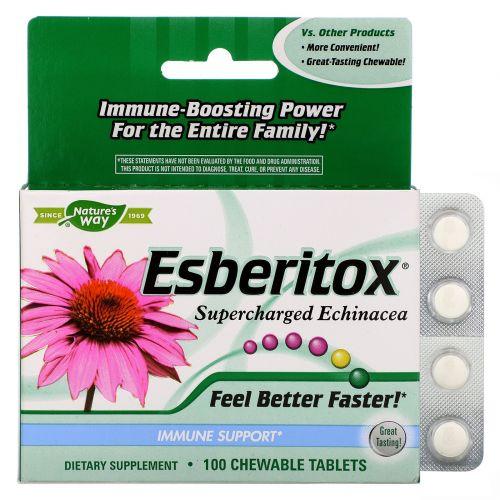 Enzymatic Therapy, Esberitox усиленная эхинацея для иммунитета, 100 жевательных таблеток