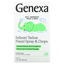 Genexa, Солевой раствор для младенцев, органический назальный спрей и пипетка, для новорожденных и более старших детей, 30мл (1жидк. унция)