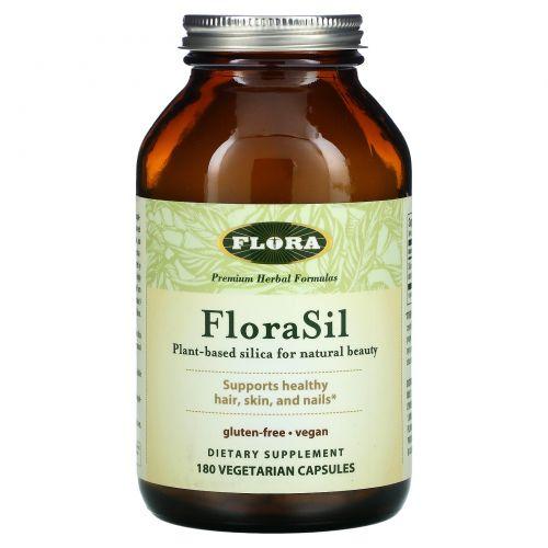 Flora, Растительный кремний, ортокремниевая кислота, 180 капсул в растительной оболочке