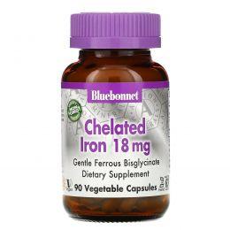 Bluebonnet Nutrition, Хелатированное железо, 18 мг, 90 капсул в растительной оболочке
