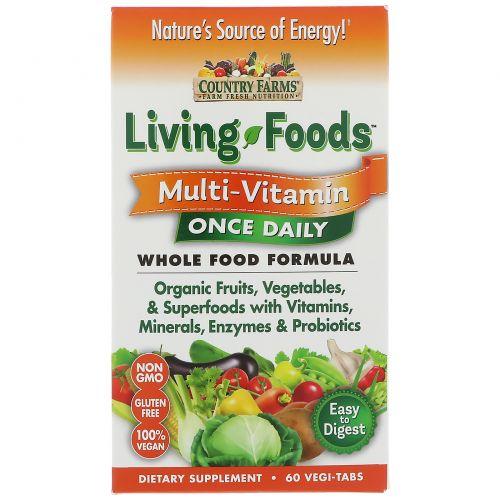 Country Farms, Живая еда, мультивитамин, один раз в день, 60 растительных таблеток