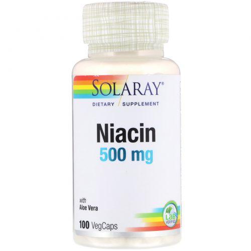 Solaray, Niacin, 500 mg, 100 Veggie Caps