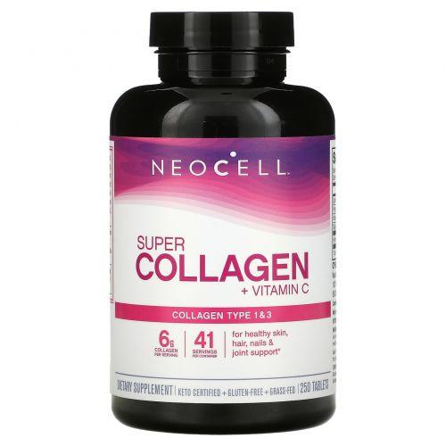 Neocell, Супер коллаген + C, тип 1 и 3, 6000 мг, 250 таблеток