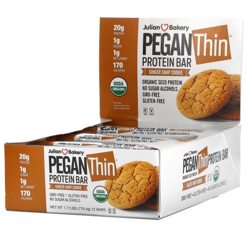 Julian Bakery, Белковый батончик Pegan, семенной белок, пряное имбирное печенье, 12 баточников, по 64,7 г каждый