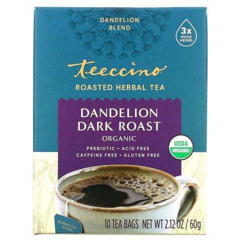 Teeccino, Органический травяной кофе, одуванчик глубокой обжарки, без кофеина, 10 Т-пакетиков, 2,12 унции (60 г)