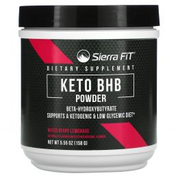 Sierra Fit, Keto BHB, порошок, бета-гидроксибутират, ягодный лимонад, 158г (5,55унции)
