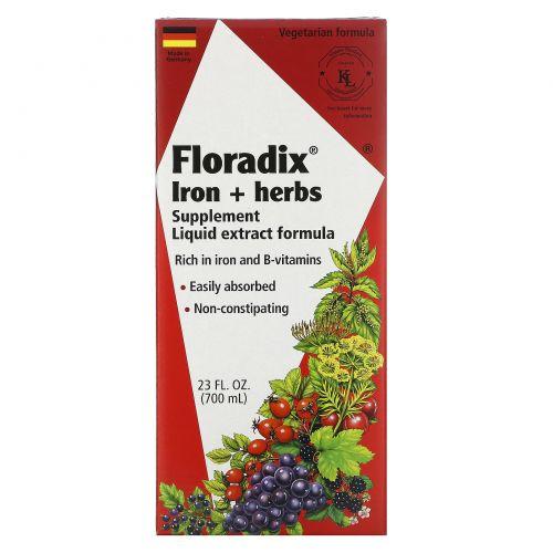Flora, Floradix, железо + лекарственные травы, жидкий экстракт, 23 жидких унций (700 мл)
