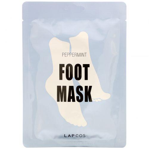 Lapcos, Foot Mask, Peppermint, 1 Pair, 0.60 fl oz (18 ml)