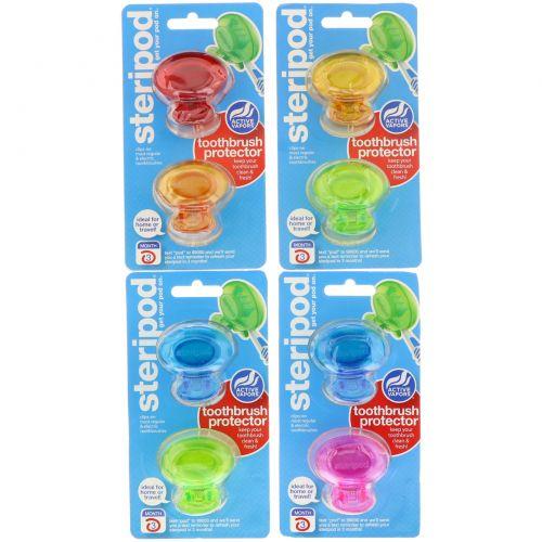 Bonfit America Inc., Steripod, дезинфицирующее средство для зубной щетки 4 уп., 2 разноцветных контейнера в каждой
