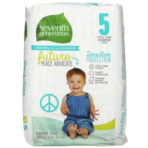 Seventh Generation, Sensitive Protection Diapers, Size 5, 27- 35 lbs, 19 Diapers