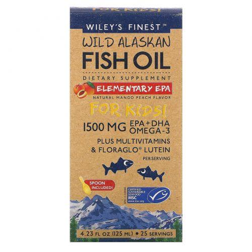 Wiley's Finest, Аляскинский рыбий жир, ЭПК, Детям!, натуральный вкус манго и персика, 1500 мг, 4.23 жид.унции(125 мл)