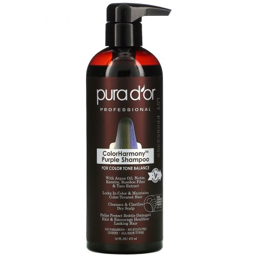 Pura D'or, Professional, ColorHarmony Purple Shampoo, 16 fl oz (473 ml)