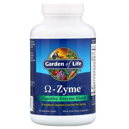 Garden of Life, Omega-Zyme, Смесь пищеварительных энзимов, 180 растительных капсул