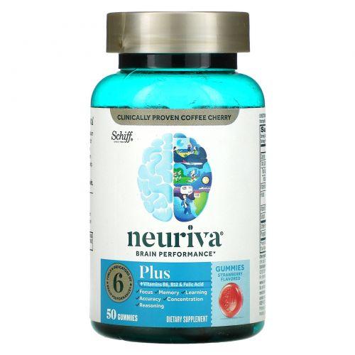 Schiff, Neuriva Brain Performance, Plus, Strawberry, 50 Gummies
