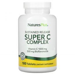 Nature's Plus, Супер комплекс витаминов С, 1000 мг витамина С с 500 мг биофлавоноидов, 180 таблеток