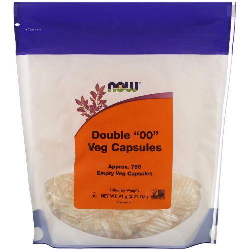 """Now Foods, Полезная пища, Двойные растительные капсулы """"00"""", 750 пустых вегетарианских капсул"""