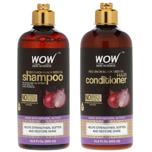 Wow Skin Science, Шампунь с маслом черного тмина и красным луком + кондиционер, набор из 2 продуктов