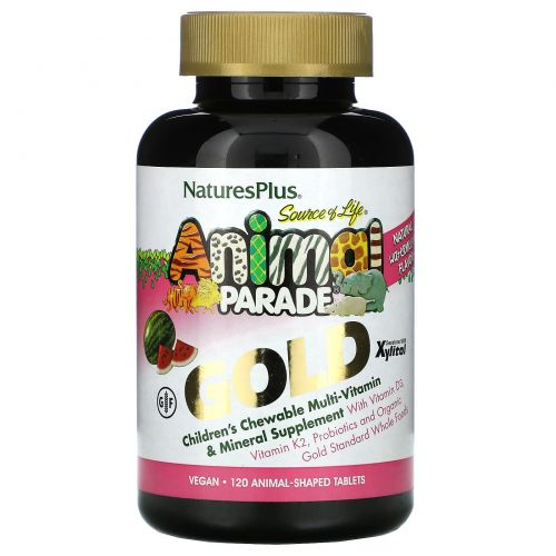 Nature's Plus, Source of Life, Animal Parade Gold, Children's Chewable Multi-Vitamin & Mineral, Watermelon, 120 Animal-Shaped Tablets
