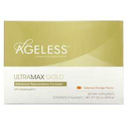 Ageless Foundation Laboratories, UltraMax Gold, улучшенная формула омоложения с альфатрофином, со вкусом валенсийского апельсина, 22 пакетика, 13,5 унции (17,4 г) каждый