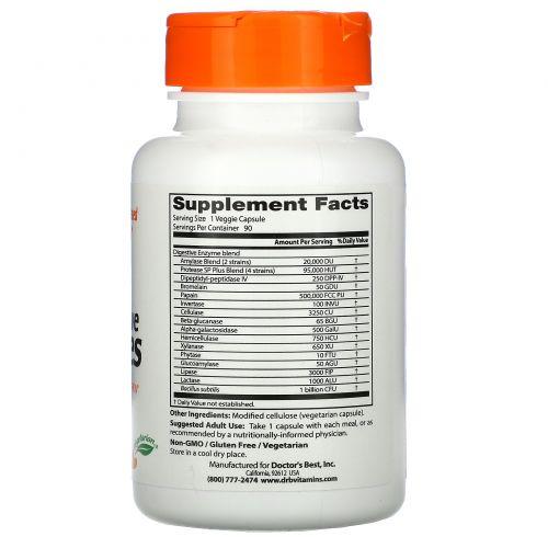 Doctor's Best, Пищеварительные ферменты полностью растительного происхождения (Best Digestive Enzymes — All Vegetarian), 90 растительных капсул