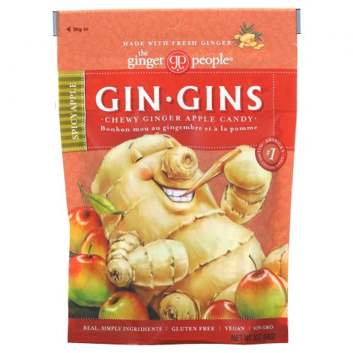 The Ginger People, Gin·Gins, жевательное имбирное печенье, пряное яблоко, 3 унции (84 г)