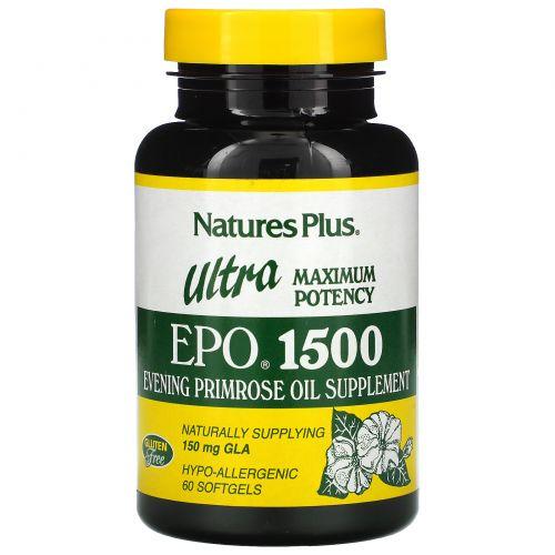 Nature's Plus, Пищевая добавка Ultra EPO 1500, максимальная энергия, 60 капсул