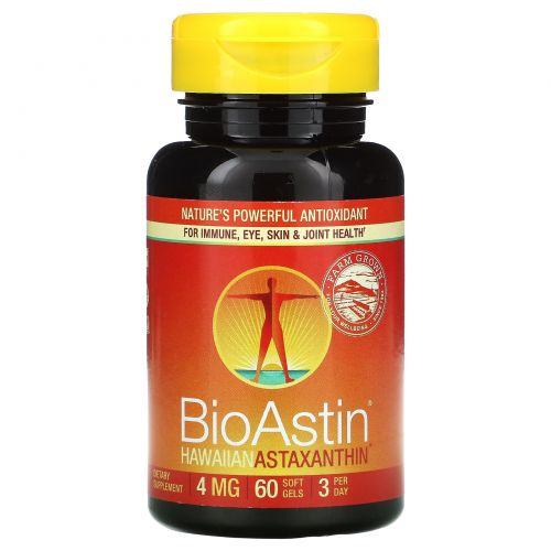 Nutrex Hawaii, BioAstin, гавайский астаксантин, 4 мг, 60 гелевых капсул