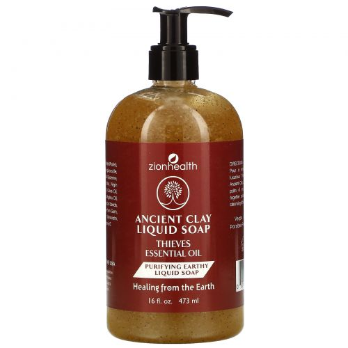 Zion Health, Ancient Clay Liquid Soap, Thieves Essential Oil, 16 fl oz (473 ml)