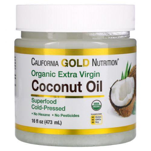 California Gold Nutrition, Органическое нерафинированное кокосовое масло, суперпродукт, холодного отжима, нерафинированное, 16 ж. унц. (473 мл)