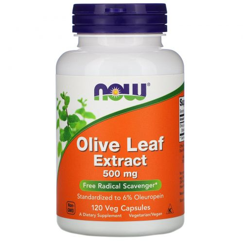 Now Foods, Экстракт листьев оливы, 500 мг, 120 вегетарианских капсул
