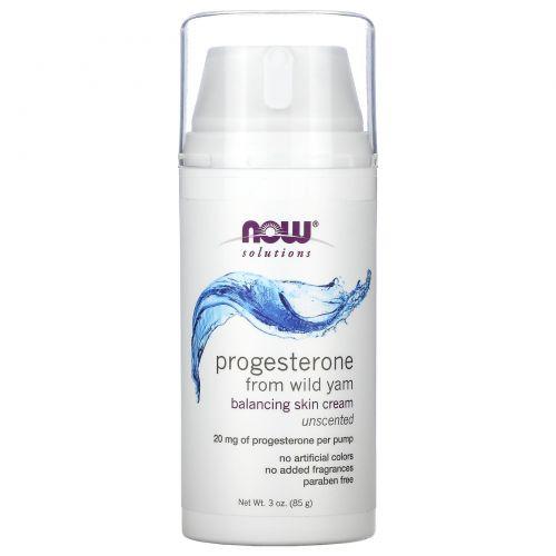 Now Foods, Решения, натуральный прогестерон, липосомный крем для кожи, без запаха, 3 унции (85 г)