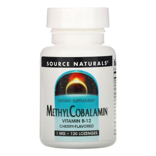 Source Naturals, MethylCobalamin, под язык, со вкусом вишни, 1 мг, 120 таблеток