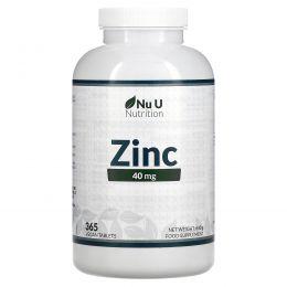 Nu U Nutrition, Цинк, 40мг, 365растительных таблеток