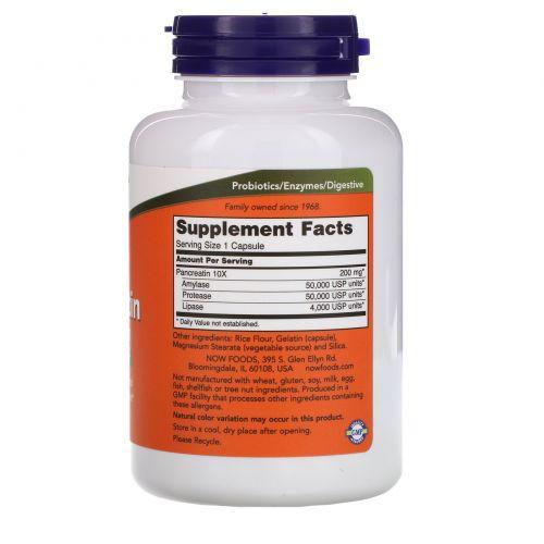 Now Foods, Панкреатин, 10X - 200 мг, 250 капсул