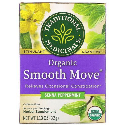 Traditional Medicinals, Органический мятный чай Smooth Move Peppermint, без кофеина, 16 пакетиков, 1.13 унц. (32 г)