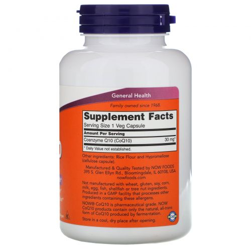 Now Foods, Кофермент Q10, 30 мг, 240 капсул на растительной основе