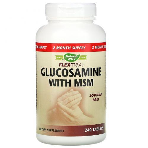 Nature's Way, FlexMax для суставов  с сульфатом глюкозамина и МСМ без натрия, 240 таблеток