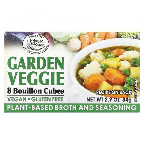 Edward & Sons, Веганский овощной бульон, без соли, 8 кубиков для приготовления натурального бульона, 2,9 унции (84 г)